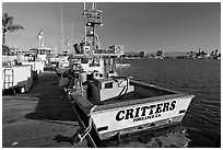 Fishing boat and deck. Marina Del Rey, Los Angeles, California, USA ( black and white)