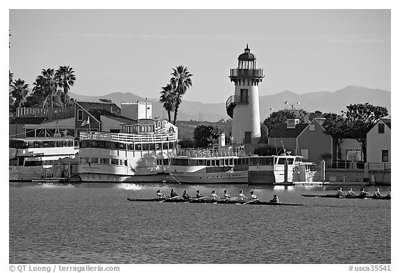 Rowers and fishing village, morning. Marina Del Rey, Los Angeles, California, USA (black and white)