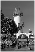 Fishermans village sign and lighthouse. Marina Del Rey, Los Angeles, California, USA ( black and white)