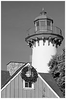 Lighthouse, Fishermans village. Marina Del Rey, Los Angeles, California, USA ( black and white)