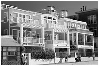 Row of colorful beach houses. Santa Monica, Los Angeles, California, USA (black and white)