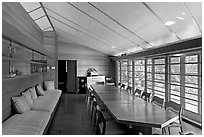 Dining room, Hanna House, a Frank Lloyd Wright masterpiece. Stanford University, California, USA ( black and white)