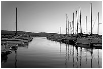 Marina, sunset. Redwood City,  California, USA (black and white)