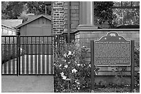 Hewlett-Packard garage and historical landmark sign. Palo Alto,  California, USA (black and white)