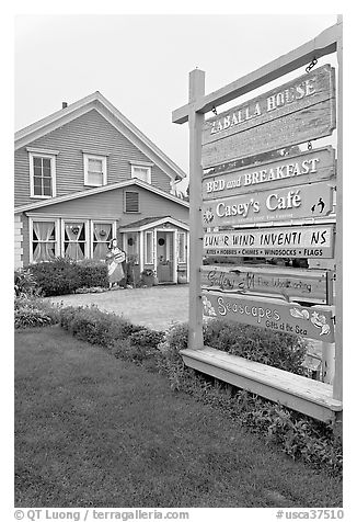 Zabella House and signs. Half Moon Bay, California, USA