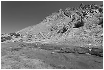 Stream and colorful rocks on Inconsolable Range. California, USA ( black and white)
