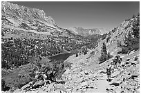 Valley and Long Lake, John Muir Wilderness. California, USA ( black and white)