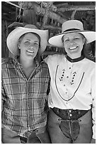 Horsewomen, Parchers Camp. California, USA (black and white)