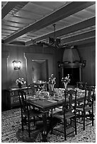 Dining room and dining table, Vikingsholm, Lake Tahoe, California. USA (black and white)