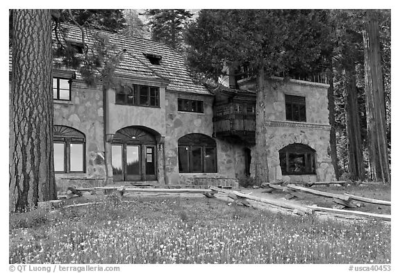 Vikingsholm castle facade, Emerald Bay,  Lake Tahoe, California. USA (black and white)