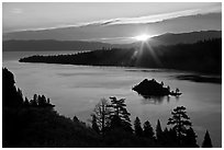 Sun shining under clouds, Emerald Bay and Lake Tahoe, California. USA ( black and white)