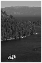 Paddle boat, Emerald Bay, and Lake Tahoe, California. USA ( black and white)