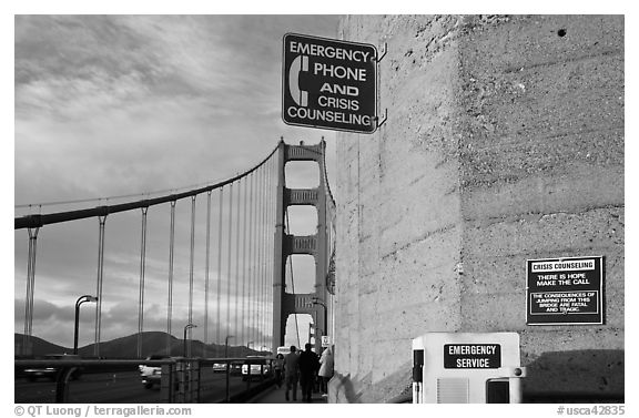 Suicide prevention signs on Golden Gate Bridge. San Francisco, California, USA