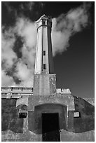 Lighthouse, Alcatraz  Penitentiary. San Francisco, California, USA (black and white)