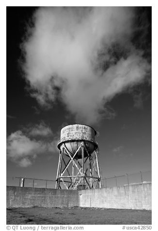 Water tower and cloud, Alcatraz. San Francisco, California, USA