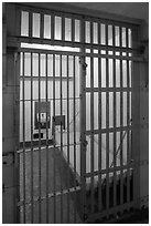 Cell in main block,  inside Alcatraz Penitentiary. San Francisco, California, USA (black and white)