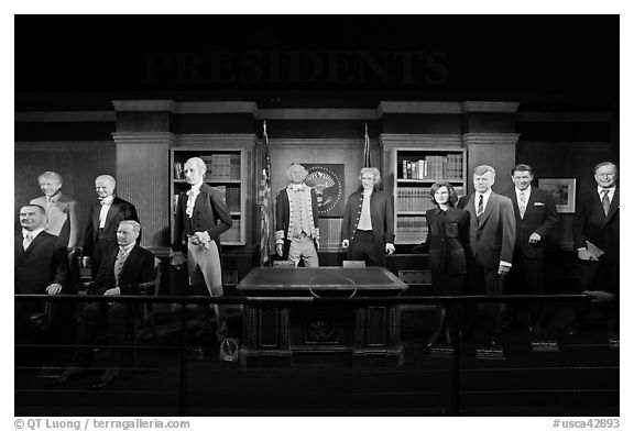 Wax figures of presidents with one outlier, Madame Tussauds. San Francisco, California, USA