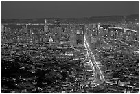 Wide night view of San Francisco from above. San Francisco, California, USA ( black and white)