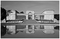 California Palace of the Legion of Honor with reflections, early morning. San Francisco, California, USA (black and white)