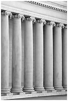 Columns in the forecourt, Legion of Honor, early morning. San Francisco, California, USA ( black and white)