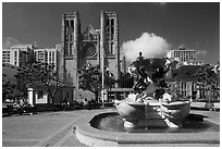 Fountain and Grace Cathedral, Nob Hill. San Francisco, California, USA ( black and white)