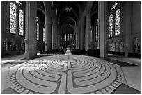 Labyrinth inside Grace Cathedral. San Francisco, California, USA (black and white)