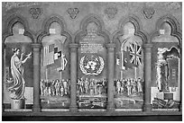 Fresco memorializing the founding of the United Nations, Grace Cathedral. San Francisco, California, USA ( black and white)