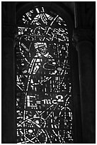 Stained glass window with Einstein figure and famous energy equation, Grace Cathedral. San Francisco, California, USA ( black and white)