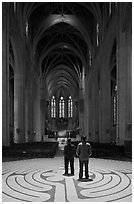 Men standing on the Labyrinth, Grace Cathedral. San Francisco, California, USA ( black and white)