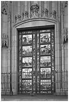 Copy of doors of the Florence Baptistry by Lorenzo Ghiberti, Grace Cathedral. San Francisco, California, USA (black and white)