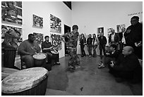 Live music and dance performance in art gallery, Bergamot Station. Santa Monica, Los Angeles, California, USA (black and white)