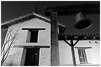 Bell and Mission Sonoma. Sonoma Valley, California, USA (black and white)