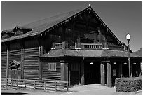 Historic building made of redwood, Scotia. California, USA (black and white)