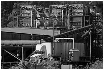 Pacific Lumber Company mill and truck, Scotia. California, USA (black and white)