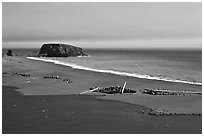 Russian River estuary and beach, Jenner. Sonoma Coast, California, USA (black and white)