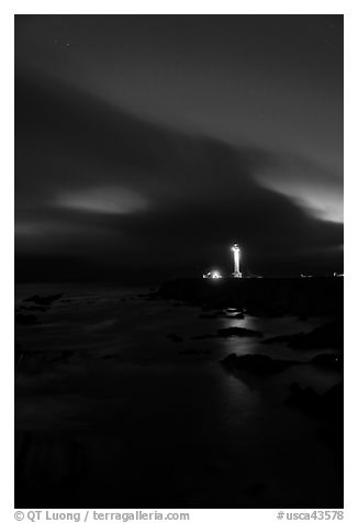 Point Arena Lighthouse and stary sky. California, USA (black and white)
