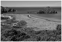 Navarro River estuary. California, USA (black and white)