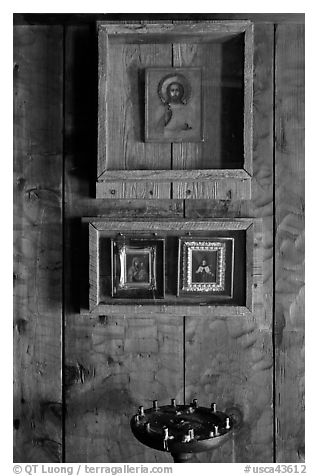 Christian orthodox icons, Fort Ross Historical State Park. Sonoma Coast, California, USA (black and white)