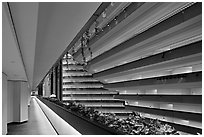 Hyatt Grand Regency hotel interior. San Francisco, California, USA (black and white)