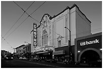 Castro theater at dusk. San Francisco, California, USA (black and white)