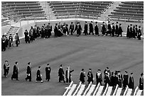Class of 2009 lines up to seat for commencement. Stanford University, California, USA (black and white)
