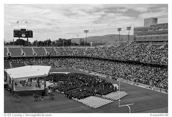 Stanford Stadium during graduation ceremony. Stanford University, California, USA