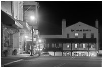 Main street and National Hotel by night, Jackson. California, USA ( black and white)