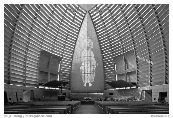 Inside of Cathedral of Christ the Light. Oakland, California, USA (black and white)