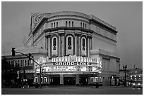 Grand Lake theater at dusk. Oakland, California, USA ( black and white)
