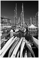 Kayaks and yachts, Jack London Square. Oakland, California, USA ( black and white)