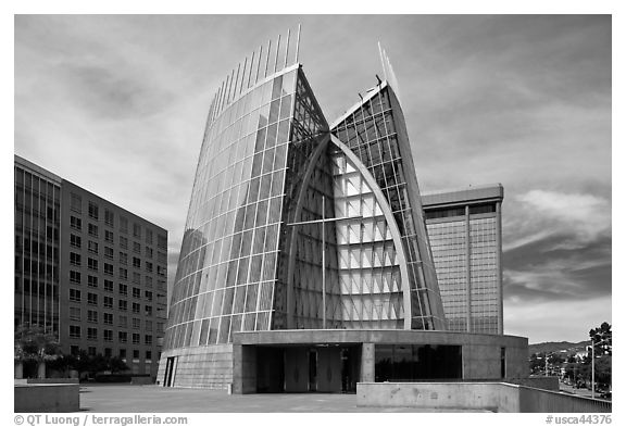 Cathedral of Christ the Light, first built in 21st century. Oakland, California, USA (black and white)