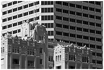 Historic and modern high rise buildings. Oakland, California, USA ( black and white)