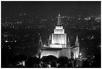 Church of Jesus Christ of LDS by night. Oakland, California, USA ( black and white)