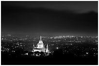Oakland temple above the Bay by night. Oakland, California, USA ( black and white)